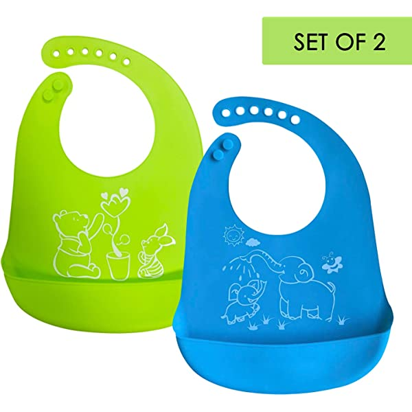 Adustable Baby Bibs Feeding Bibs Kids Roll up Food Catcher Silicone Pocket Bib