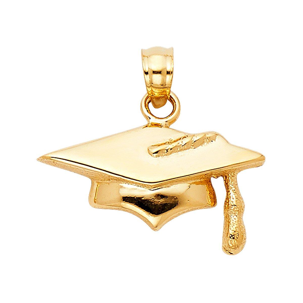 Height 10 MM Width 19 MM TGDJ 14K Yellow Gold Graduation Hat Pendant