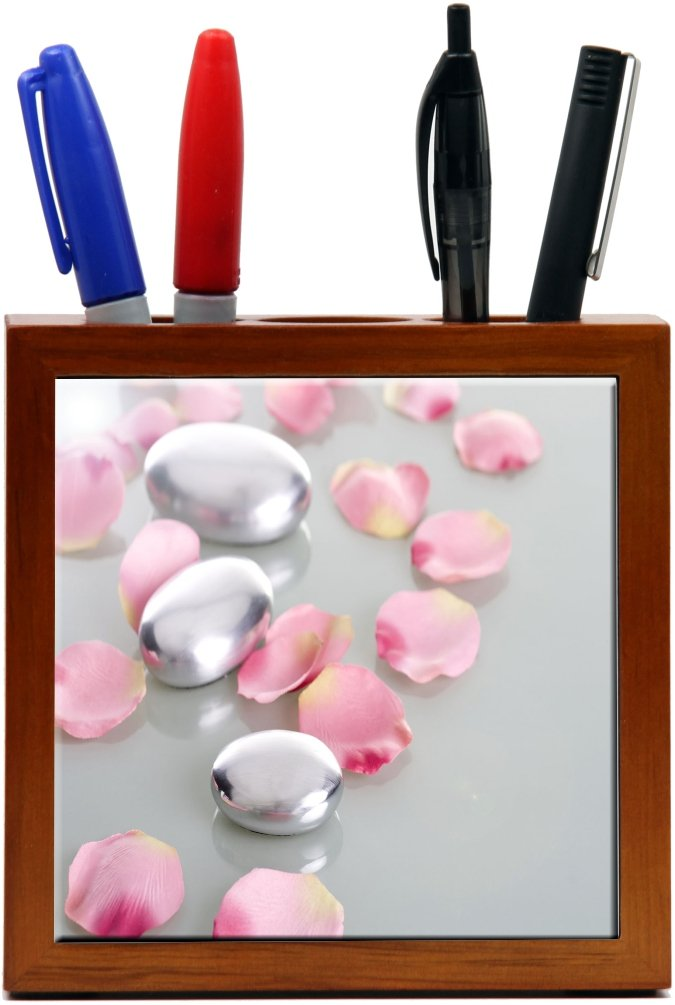 Rikki Knight RK-PH2045 spa stones with rose petals Design 5-Inch Wooden Tile Pen Holder (RK-PH2045)