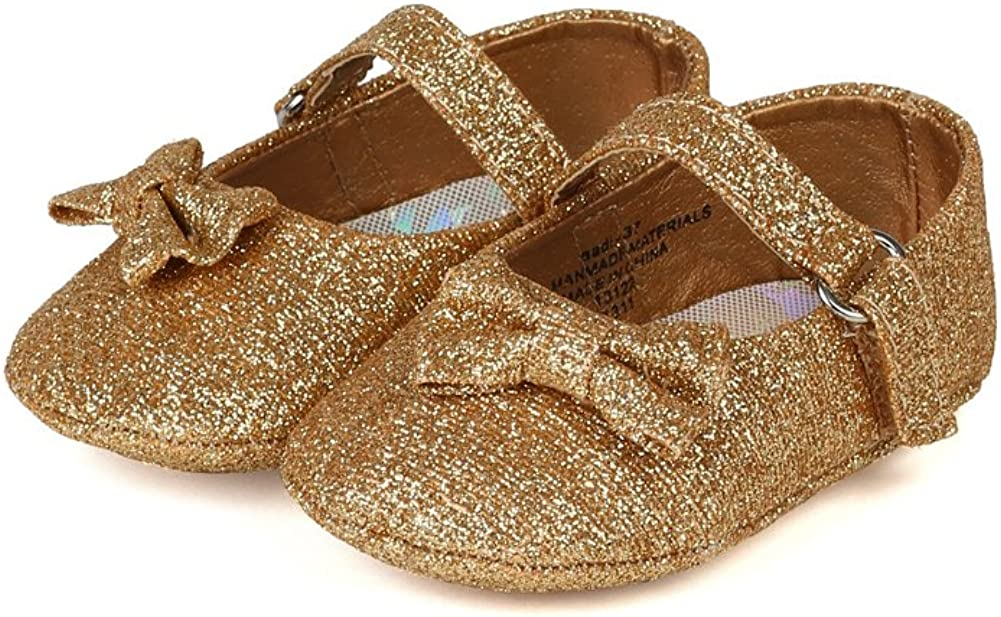 AH56 Glitter Round Toe Bow Embellishment Mary Jane Ballerina Flat Infant//Baby Girl Gold