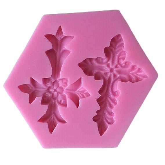 Karen Baking Cruz religiosa Sagrada Comunión Bautizo Forma silicón 3D molde de pastel para la torta pasta de azúcar que adorna: Amazon.es: Hogar