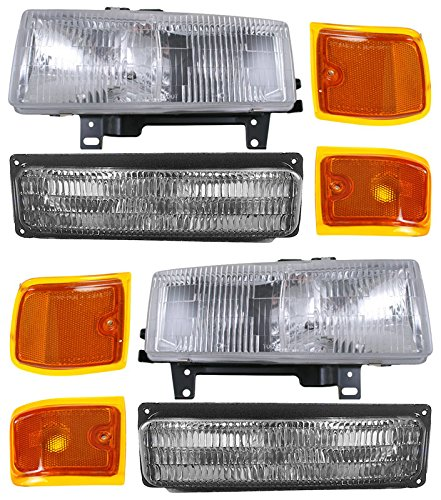 Composite Headlights Headlamps Turn Signal Parking Light Kit Set for Chevy Van Composite Headlamp