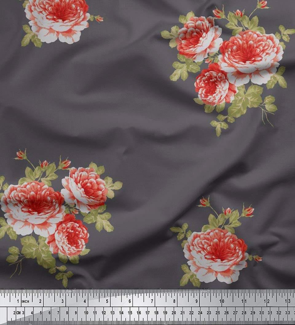 49bf65e9e4ba Soimoi 42 Zoll breit Craft mit Blumenmuster Viskose Chiffon Nähen Stoff 55  GSM Per Meter-Schwarz  Amazon.de  Küche   Haushalt
