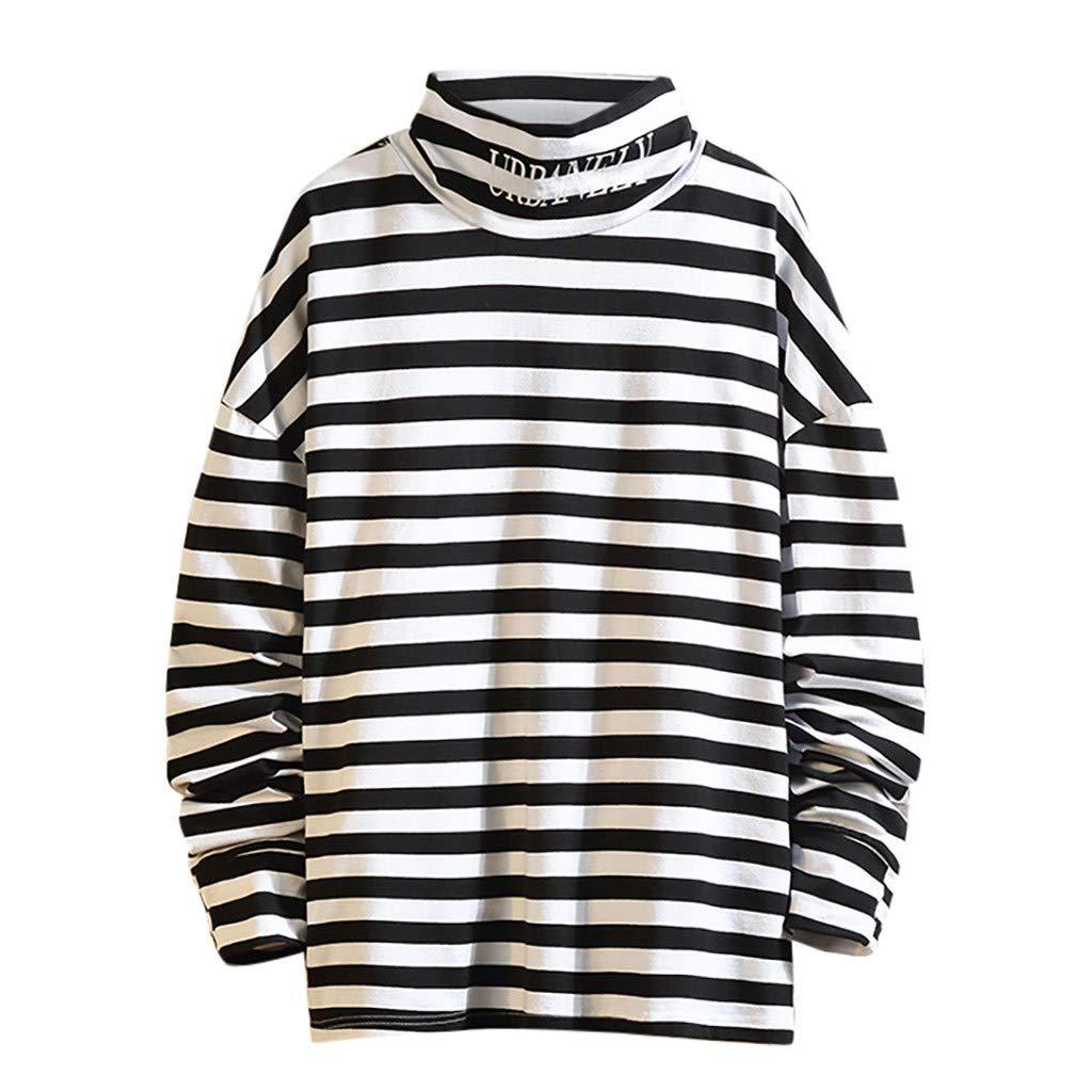 VZEXA Mens Pullover Plus Size Turtleneck Stripe Print Tops Long Sleeves Casual T Shirt(White,L) by VZEXA