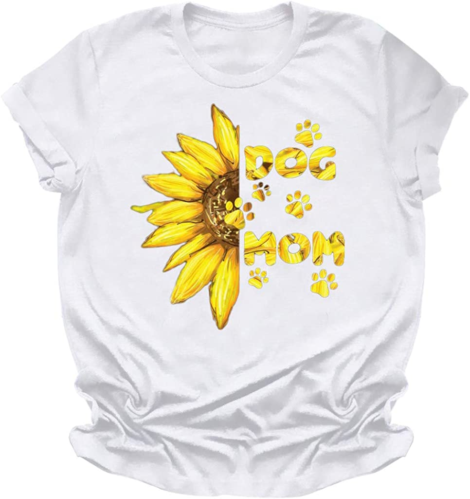 T Shirts for Women Graphic,Cute Casual Summer Sunflower T-Shirts Vintage Funny Short Sleeve Graphic Funny Tees for Mom