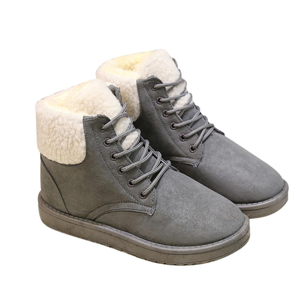 AutumnFall Fashion Women Boots Flat Ankle Lace Up Fur Lined Winter Warm Snow Shoes (39, Gray)