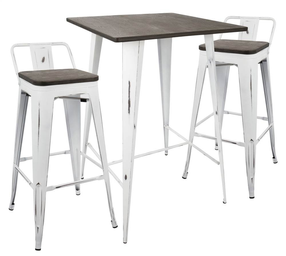 Amazon com lumisource 3 pc low back fauxb set in vintage white and espresso finish table chair sets