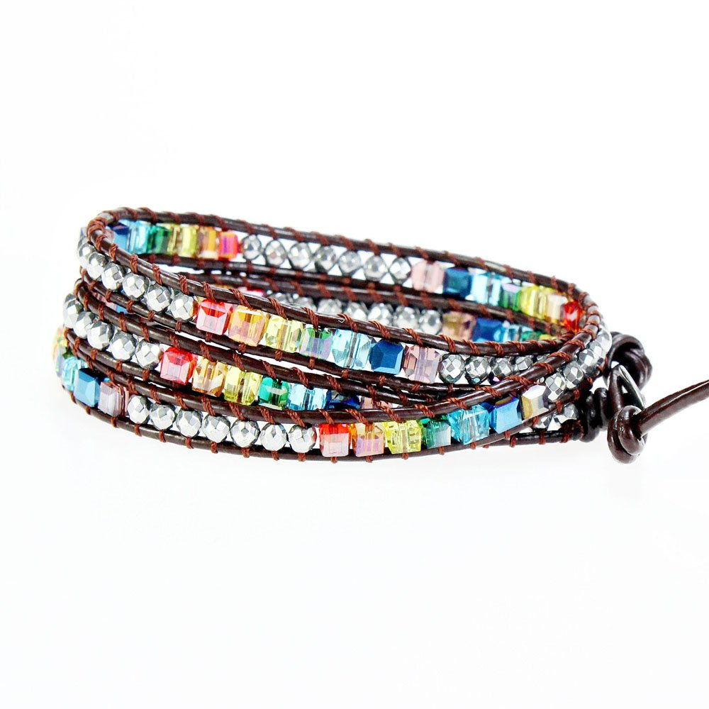 YHY Handmade Multicolour 7 Chakra Balancing Crystal Bead with Hematite Stone Wrap around Leather Bracelet for Women Adjustable by YHY