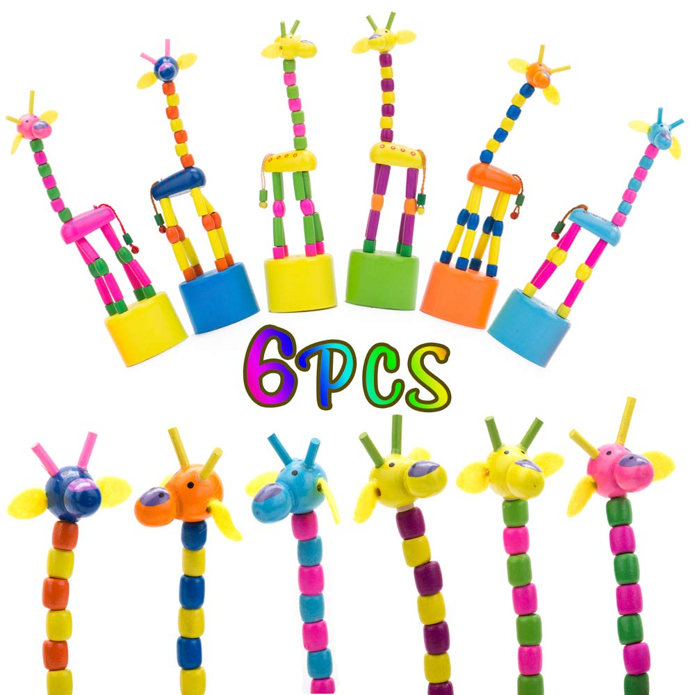 PROLOSO 6 Pack Finger Puppets Wooden Push Up Toys Giraffe Press Base Toddlers Baby Gift