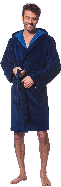 Morgenstern, Herren Kurz-Bademantel, mit Kapuze, Gr. M, blau (Marine), Größen S bis XL verfügbar, Außenseite kuschelige Microfaser Innenseite saugstarke Baumwolle (Frottee)
