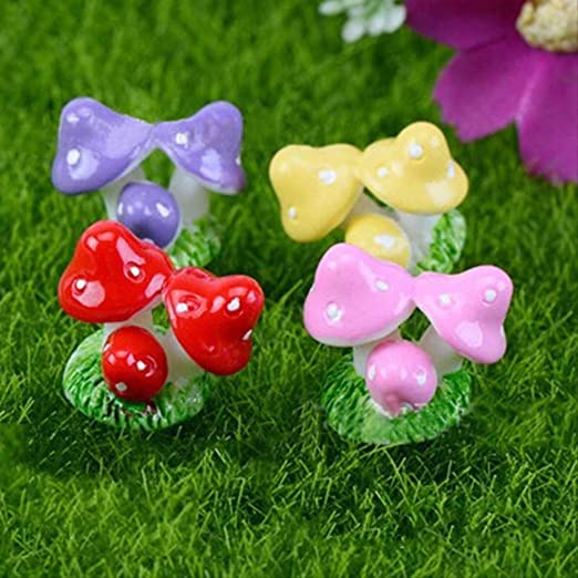 KWOSJYAL 4Pcs / Set Mini Artesanías De Resina De Hongo Rojo Miniaturas De Jardín De Hadas Adorno De Jardín Decoración Terrario Figuritas Decoración DIY Casa De Muñecas Combinación: Amazon.es: Jardín