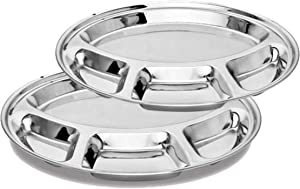 Khandekar Pack of 2 Stainless Steel Round Dinner Plate with 4 Compartment, Food Divided Plate, Cafeteria Mess Tray, Steel Section Plates for Hiking, Camping, Picnic - Silver, 11.5 inch