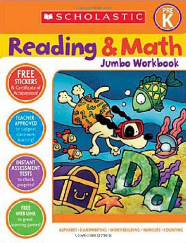 Scholastic Pre-K Reading & Math Jumbo Workbook (Cut And Paste Math Worksheets For First Grade)