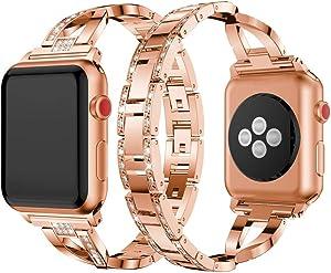Dassions Metal Cuff Bangle Bracelet Bling Rhinestone Diamond Wristband X-Link Glitzy Strap Band for Apple Watch Band 38mm 40mm Women Iwatch Series 6 Series 5 4 3 2 1 SE (38mm/40mm Rose gold)