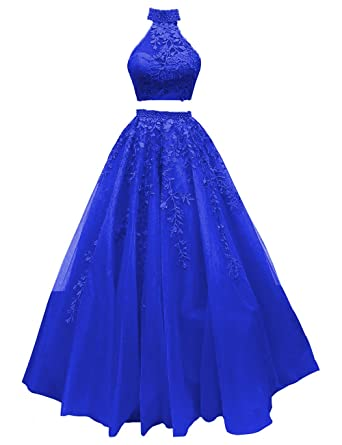 77dc337e75e Floor Length Prom Dress Two Pieces Halter Sleeveless Tulle A-Line Evening Gown  Formal Royal