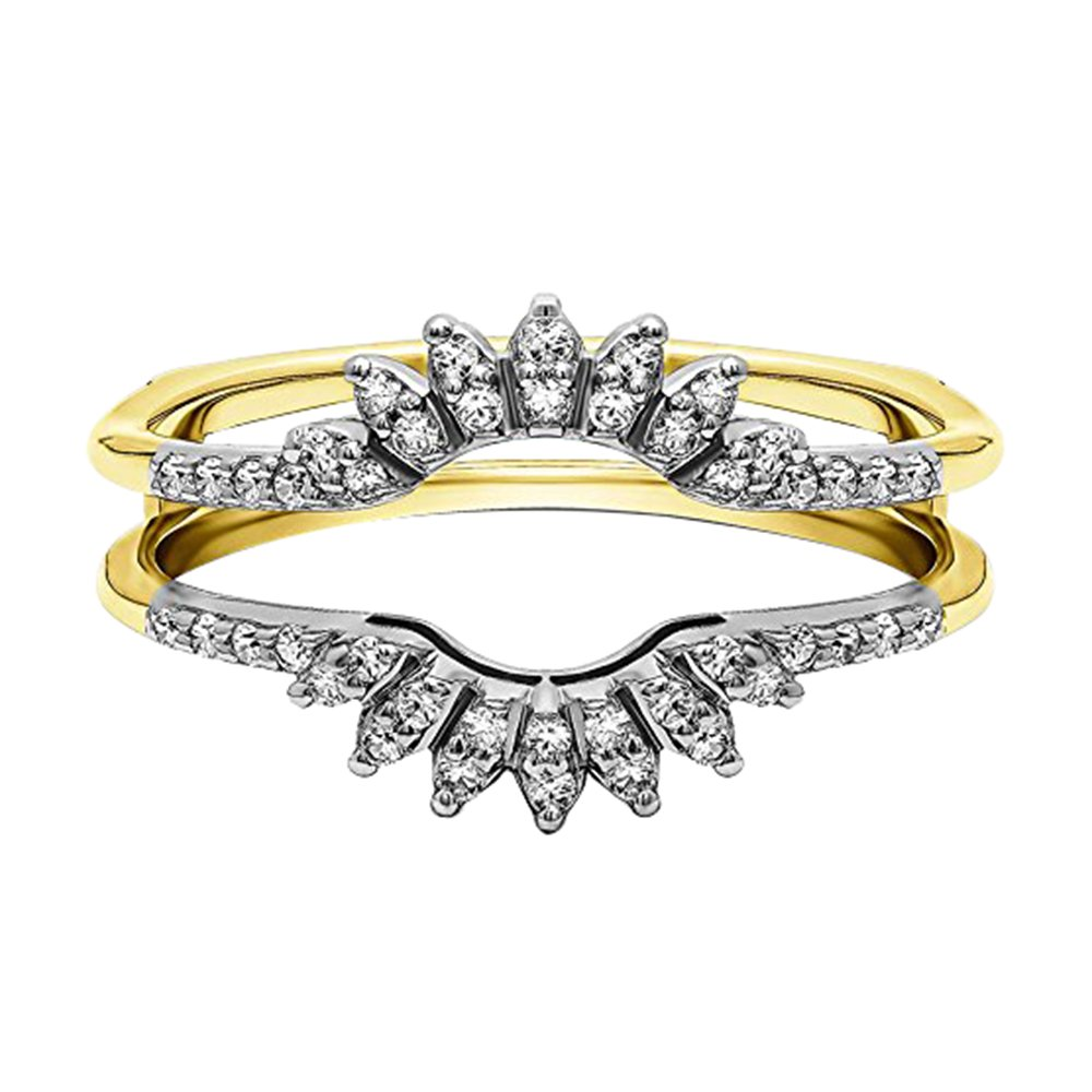 14k Yellow Gold Over on Alloy 1/4Ct Cubic Zirconia Contoured Wedding Ring Jacket Enhancer Band (9)