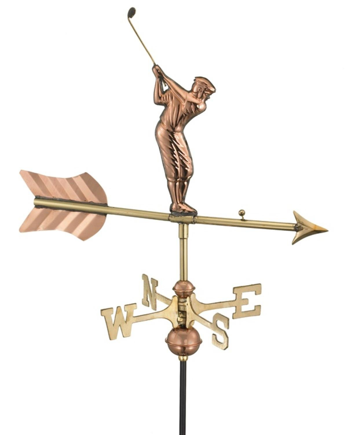 21'' Handcrafted Polished Copper Swinging Golfer Outdoor Weathervane with Garden Pole