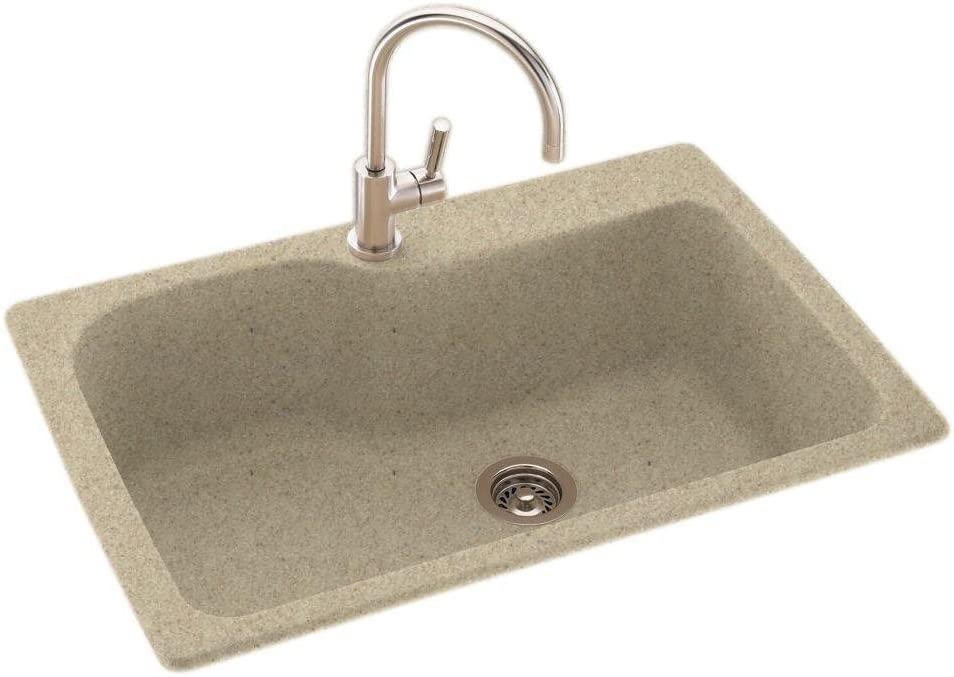 Swanstone KS03322SB.122 Solid Surface 1-Hole Drop in Single-Bowl Kitchen Sink, 33-in L X 22-in H X 10-in H, Prairie