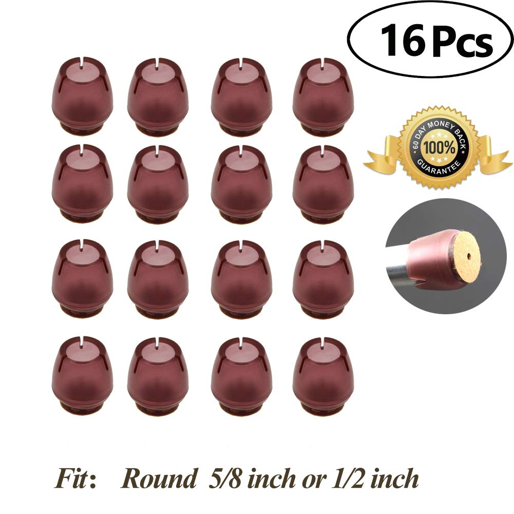 Chair Leg caps Wood Floor Protectors with Felt Furniture Pads, Chair Feet Glides Furniture Carpet Saver, Silicone/Rubber Caps Tips,Fit Round 1/2 inch to 5/8 inch 16 Pack