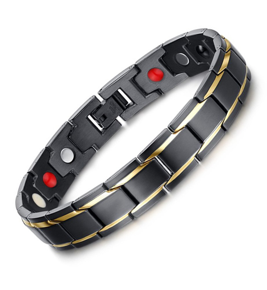 Hottime 316L Stainless Steel Magnetic Therapy Bracelet Pain Relief for Arthritis and Carpal Tunnel (Men Style) by Hottime Jewelry Co,.Ltd (Image #1)
