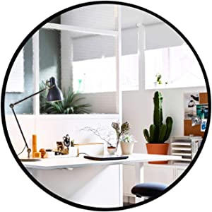 Elevens Wall Round Mirror - Popular 24 Inch Round Wall Mounted Decorative Mirror - Metal Frame, Best for Vanity Washrooms Bathroom and Living Rooms- Black