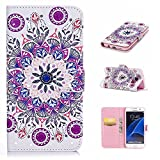 Galaxy S7 Edge 3D Phone Case,Samsung Galaxy S7 Edge Case with Fold Stand Feature,Gostyle Premium PU Leather Wallet Mandala Flower Painted Pattern Magnetic Flip Cover with Card Slots.