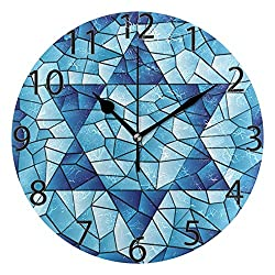 ALAZA Ethnic Jewish Navy Stars Round Acrylic Wall Clock, Silent Non Ticking Oil Painting Home Office School Decorative Clock Art