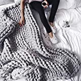 incarpo Chunky Knit Blanket Handwoven Wool Yarn Knitting Throw Bed Sofa Super Warm Home Decor Grey 47'x71'