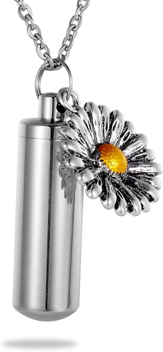 HooAMI Sunflower Charm Memorial Urn Necklace Stainless Steel Cremation Jewelry
