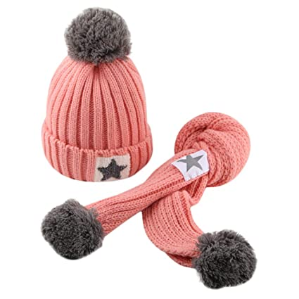 98d316f5b41 Amazon.com  Inkach Baby Girls Boys Winter Hat Scarf Set Winter Warm ...