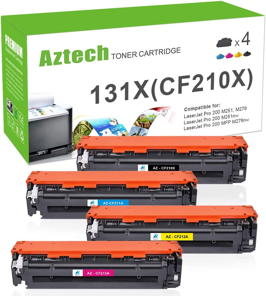 Aztech Compatible Toner Cartridge Replacement for HP 131A CF210A CF210X Laserjet Pro 200 Color MFP M276nw M251nw MF8280Cw M276n M251n 131X CF211A CF212A CF213A (Black/Cyan/Yellow/Magenta, 4-Pack)