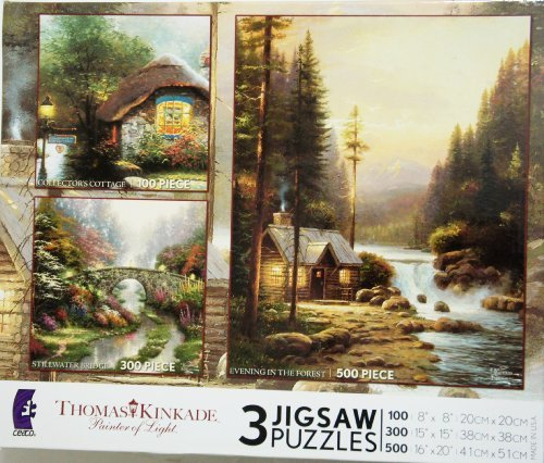 (Thomas Kinkade 3 Puzzles Box Set (EVENING IN THE FOREST, STILLWATER BRIDGE & COLLECTOR'S)