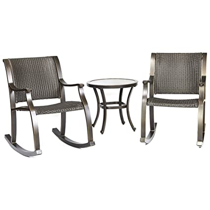 Admirable Dali 3 Piece Bistro Set Tempered Glass Table Wicker Mesh Rocking Chair Patio Backyard Outdoor Furniture Ibusinesslaw Wood Chair Design Ideas Ibusinesslaworg