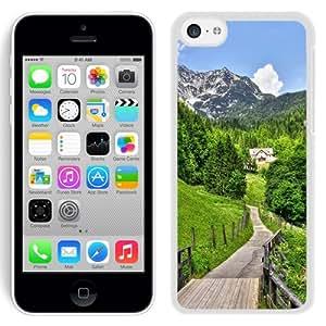 NEW Unique Custom Designed iPhone 5C Phone Case With Mountain Village Road Path_White Phone Case