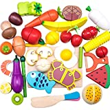 32Pieces Pretend Magnetic Play Food Set Painted Wooden Cutting Fruits/Vegetables kitchen Learning Food Prep Kit for Toddlers pretend play kitchen - iPlay, iLearn