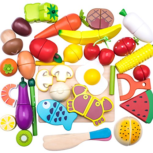 Wooden Cutting Cooking Food Sets, Pretend Play Kitchen Kits Toy, Magnetic Wood Vegetables Fruits, Early Development, Learning, Birthday Gifts for Ages 3, 4, 5 , 6 Year Olds Toddlers, Boys, Girls, Kids