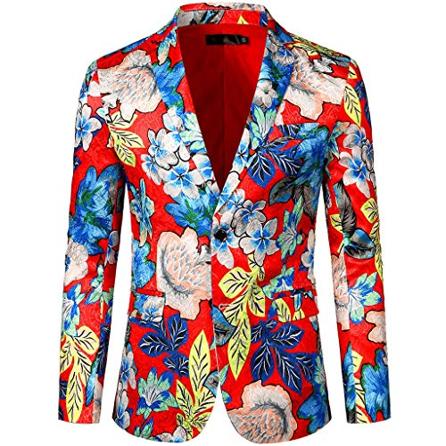 Blazer Jackets for Men Slim Fit Single One Button Casual One Button Blazer Jacket Dress Floral Suit Notched Lapel Stylish Blazer Coat (S,5#red)]()