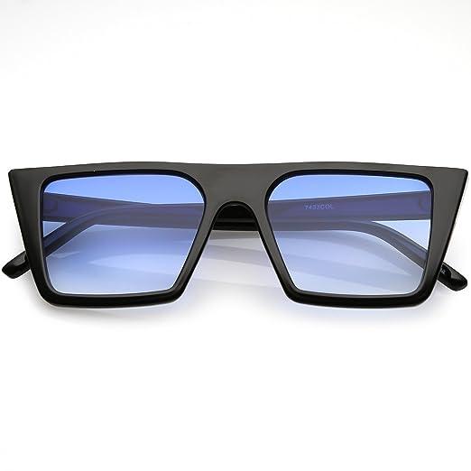 d285cb8b92b sunglassLA - Retro Flat Top Square Sunglasses Color Gradient Flat Lens 52mm  (Black Blue