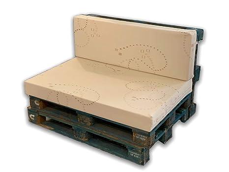 MICAMAMELLAMA Pack Asiento y Respaldo de Espuma para sofá Exterior de Palet con Funda (Funda Stretch)