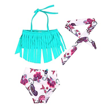 191f3e02a58f9 Chinatera Baby Girl's Halter Tops Swim Shorts Headband Tassel Swimsuits Two  Pieces Bikini Sunsuit Outfits: Amazon.in: Clothing & Accessories