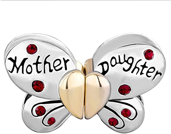 Amazon Com Mother S Day Gift Butterfly Mother Daughter Red Crystal Gold Heart Bead Fits Pandora Charm Bracelets Arts Crafts Sewing