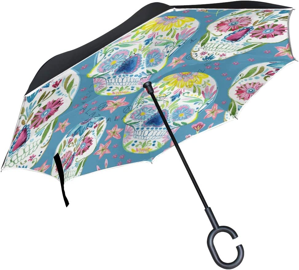 ATONO Sugar Skull Floral Seamless Hand Painted Watercolor Double Layer Inverted Reverse Folding Stick Umbrellas Windproof Anti-UV C-Shaped Handle for Car Rain Outdoor