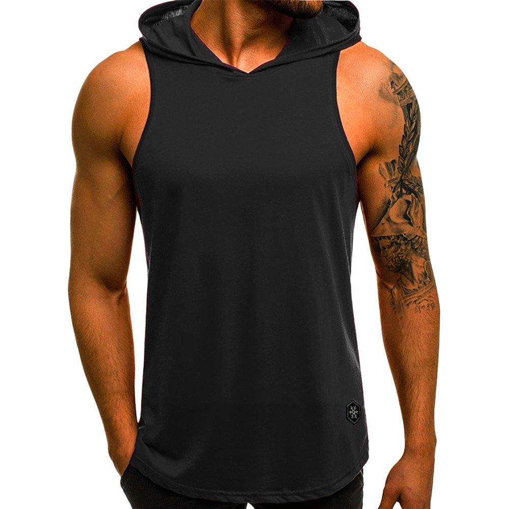 WUAI Men's Casual Hoodies Workout Tank Tops Sleeveless Sport Pullover Sweatshirt Loose Tops T-Shirt (Black, US Size XL = Tag 2XL)