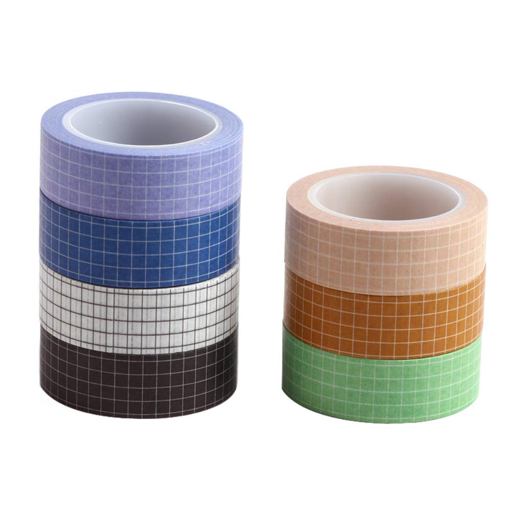 7 Rolls Grid Washi Tape Set 10M(33ft) Colorful Writable Paper Adhesive Masking Tapes 15MM(3/5in) Width Sticky Paper Tape for DIY Scrapbooking Decoration Arts Crafts Decor Bullet Journaling Labels
