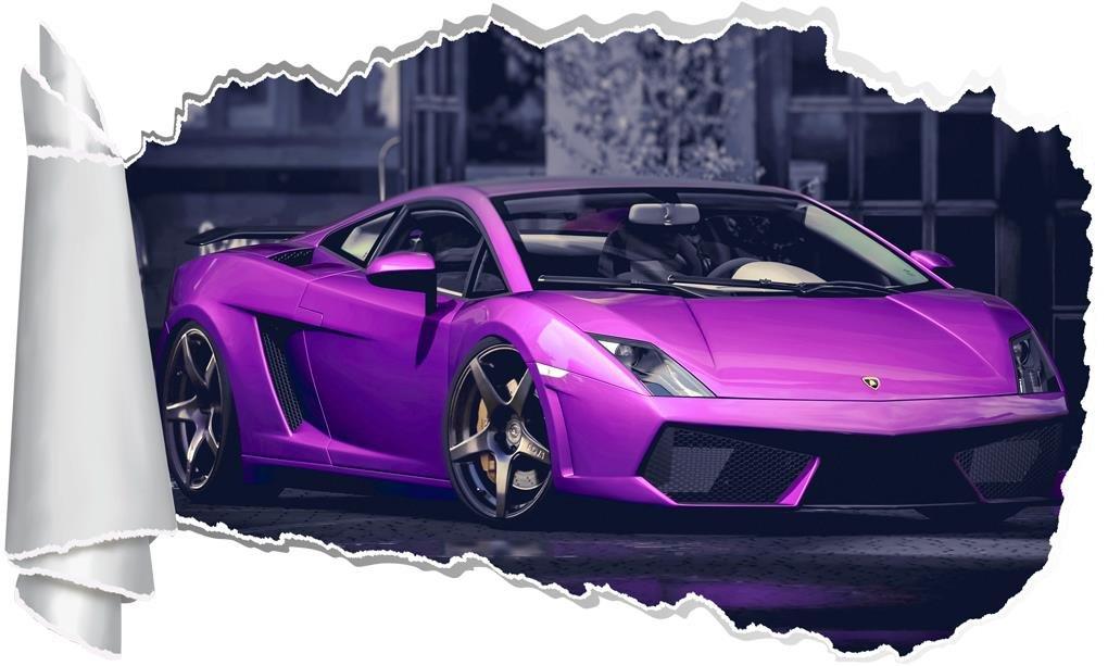Lamborghini Gallardo 3D Torn Hole Ripped Wall Sticker Decal Art Luxury Car WT236, Huge
