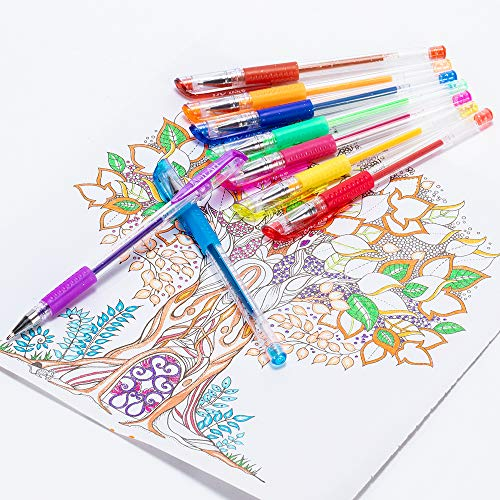 Glitter Gel Pens Aen Art 24 Colors Gel Pen Set, Colored Fine Point Markers with 40% More Ink for Adult Coloring Books Bullet Journal Planner Drawing Doodling School Project Photo #8