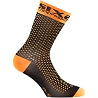 SIX2 Calza Corta compressiva FLUO-43/46 Unisex Adulto, Orange Fluo, 43/46