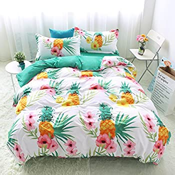 """Bedding Duvet Cover Sets 3-pieces Full/Queen Size(90""""x90"""") Microfiber,Pineapple Pink Flowers Green Leaves White Prints Floral Patterns,Without Comforter (Full/Queen, 1Duvet Cover+2Pillowcases-08)"""