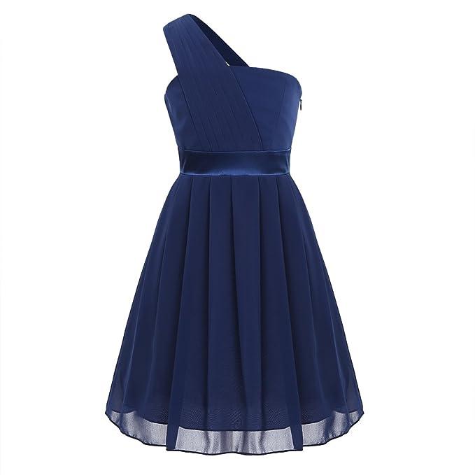 iEFiEL Vestido Plisado de Princesa Ceremonia para Niña Vestido de Fiesta Bautizo Boda Infantil Azul Marino