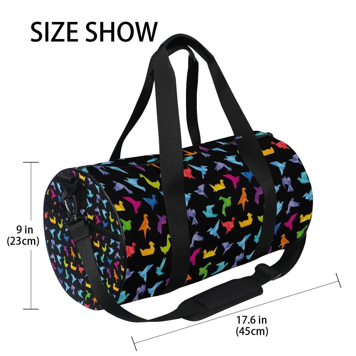 Sports Gym Duffel Barrel Bag Origami Bird Art Japan Craft Travel Luggage Handbag for Men Women
